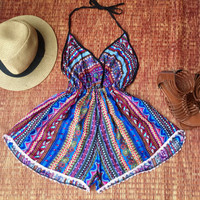 Playsuit Backless Boho Fashion chic Gypsy Resort Halter Romper summer Clothing Beach party festival Nightwear ladies blue Holiday Gift her