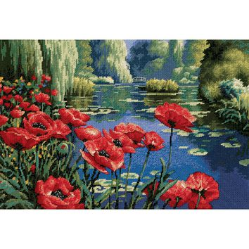 "Lakeside Poppies Needlepoint Kit 16""X11"" Stitched In Thread"