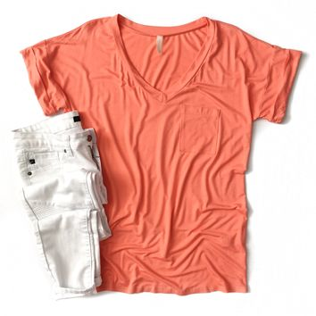Coral Boyfriend V-Neck Top