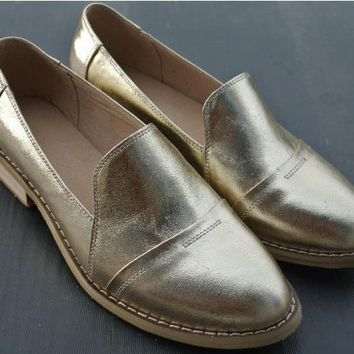British retro Genuine leather oxford shoes for women golden+silver loafers Four Season