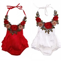 2017 Floral Baby Girl Romper Summer Sleeveless Backless Halter Ruffles Skirted Baby Rompers Toddler Kids Jumpsuit Outfit Sunsuit