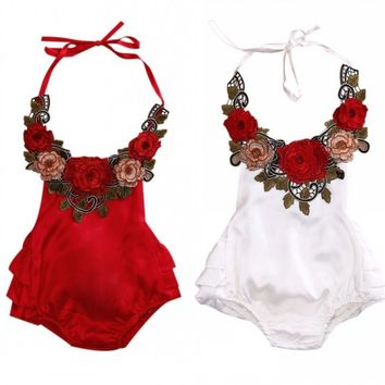 3D Flower Newborn Baby Girls Clothes Backless Bodysuits Babies Girl Floral Bodysuit Sunsuit 0-3T Clothing