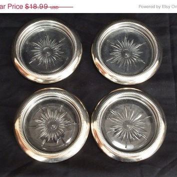ON SALE 4 Vintage Leonard Italy Crystal & Silver Plate Silverplate Coasters