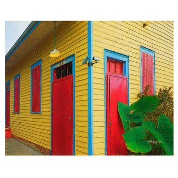 Colorful New Orleans Yellow House Red Door Giclee Print 8x10 11x14 16x20 - Elephant Ear House - Korpita