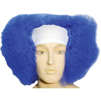 Bald Curly Clown Wt Front Blue Wig