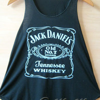 JACK DANIEL'S Print Tank Vest T Shirts TOP Ladies Womens Girls New Black Daniels