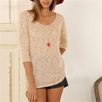 2016 New Autumn Female Knitted Sweater Plus Size Knittedwear Three Quarter 3/4 Sleeve O-neck Back Button Pullovers 71305