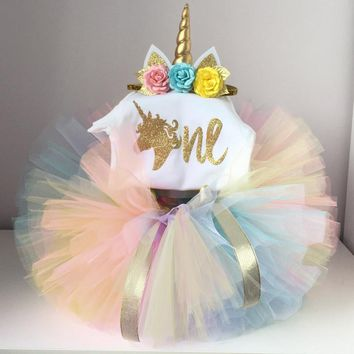 Pretty Little Girl Baby Unicorn Dress Outfits 1st Birthday Party Wear Tutu Fluffy Summer Kids Clothes Toddler Photo Costume 12M