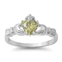 9MM 2ctw Sterling Silver August PERIDOT BIRTHSTONE HEART ROYAL Claddagh Ring 4-10