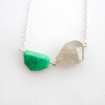 Rutilated Quartz Necklace, Green Necklace, Sterling Silver, Geometric Jewelry, Modern Necklace, Quartz Jewelry, Faceted Jade Green Necklace