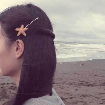 Natural Sugar Starfish Bobby Pin by dreamsbythesea on Etsy