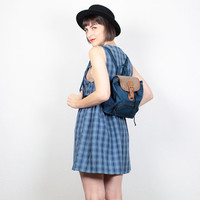 Vintage 90s Mini Backpack Purse Grunge Tiny Backpack 1990s Soft Grunge Navy Blue Brown Leather Baby Backpack Clueless Purse Tote Bag