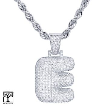 "Jewelry Kay style E Initial Silver Plated Custom Bubble Letter Iced CZ Pendant 24"" Chain Necklace"