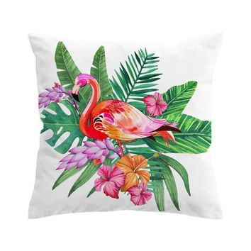 Tropical Flamingo Pillow Cover
