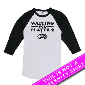 Pregnancy Announcement Shirt Baby Announcement Waiting For Player 2 Maternity Clothing Mommy To Be American Apparel Unisex Raglan MAT-566