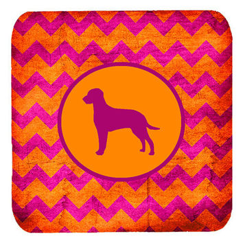 Set of 4 Curly Coated Retriever Chevron Pink and Orange Foam Coasters