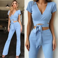 Women 2PCS Suit Set Tops Pants Jumpsuit Romper Summer Blue Playsuit Party Suits