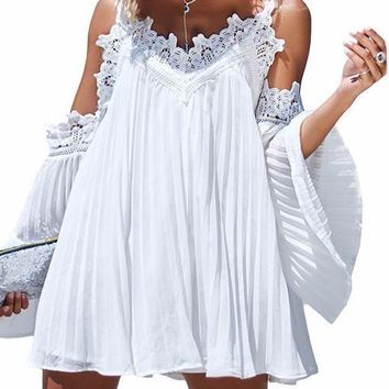 Mia Boho Pleated Boho Beach Cover Up Dress