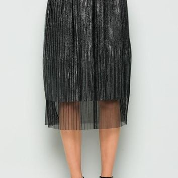 Metallic under skirt with pleated mesh