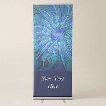 Blue Flower Fantasy Pattern, Abstract Fractal Text Retractable Banner
