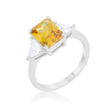 Classic Canary Yellow White Gold Rhodium Engagement Ring, size : 06