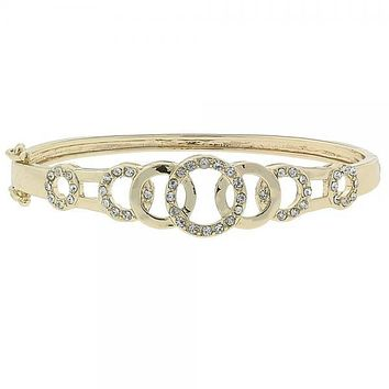 Gold Layered 07.91.0007 Individual Bangle, with White Cubic Zirconia, Polished Finish, Gold Tone (13 MM Thickness, Size 4)
