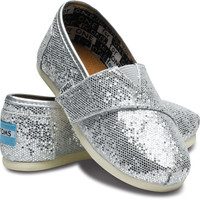 TOMS Shoes Glitter Lilac Purple Classic Slip-On Shoes Tiny Kids,