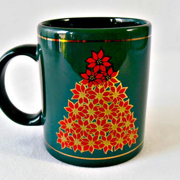 Vintage Christmas Tree Mug, Green Holiday Mug, Poinsettia Tree, Gold Trim Holiday Cup, 1990s Vintage J I I Mug, Christmas Coffee Tea Cup Mug