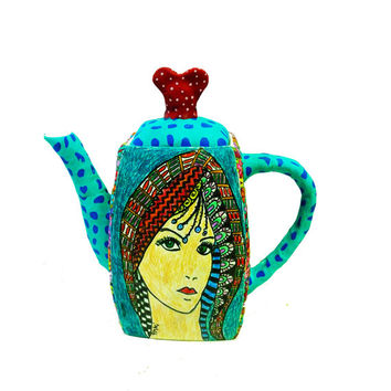 Housewares-kitchen-Teapot- polymer clay-Whimsical-Original- Drawing