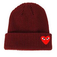 Red Heart Face Man Winter Warm Thick Knitted Heart Shaped Beanie Casual Women's Outdoor Street Dance Fitted Wine Red Cuffed Skully Hat