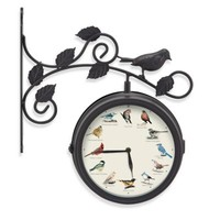 Decorative Outdoor Bird Clock and Weather Thermometer