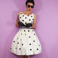 White and Black Polka dot Silk Dress