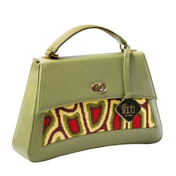 TATI BODUCH Designer Handbag, JASPER Collection, genuine leather: yellow, knitwear: green
