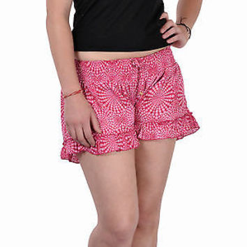 Women Girls Pink Shorts Online Sleepwear Flower Printed BeachWear Cloth Cotton
