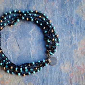 Turquoise and Black Beaded Ankle Bracelet, Crochet Anklet, Turquoise Picasso, Seed Beaded Anklet