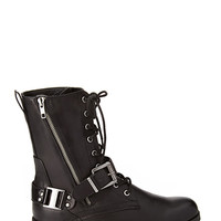 FOREVER 21 Lace-Up Buckled Combat Boots