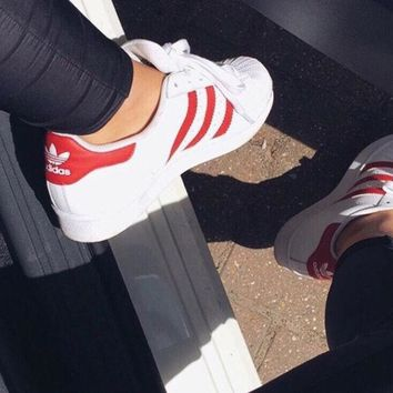 """Adidas"" Fashion Shell-toe Flats Sneakers Sport Shoes white red logo line"