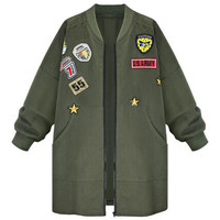 Army Green Patched Letters and Numbers Jacket