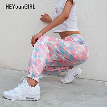 HEYounGIRL Pink Camouflage Pants Womens Camo Cargo Sweat Pants High Waist Elastic Trousers Casual Baggy Joggers Print Pockets