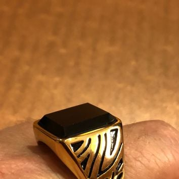 Vintage 1980's Gothic Gold Finished Stainless Steel Black Onyx Genuine Ring