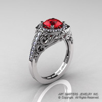 Italian 14K White Gold 1.0 Ct Ruby Diamond Engagement Ring Wedding Ring R280-14KWGDR