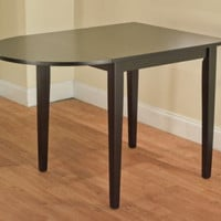 Country Drop Leaf Dining Table Half-Oval Black Finish Sturdy Home Furniture New