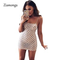 Ziamonga Women Summer Sequined Dress Sexy Sleeveless Night Club Dress Sequin Nightclub Wear Party Bodycon Dress Vestido De Festa