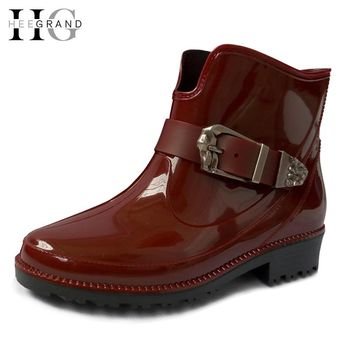 HEE GRANG New Women Fashion Rain Boots Buckle Platform Ankle Boots Casual Shoes Slip On Flats Low Heels Women Shoes XWX4056