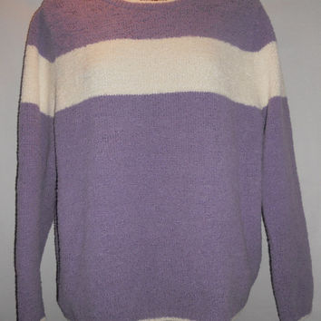 Vintage Christopher Banks Fuzzy Purple Sweater with White Stripe Size Small