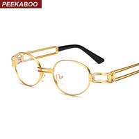 Peekaboo retro clear lens nerd glasses frames for men male oval small round eyeglasses for women gold metal hollow 2017