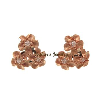 9MM SOLID 14K ROSE GOLD HAWAIIAN DIAMOND CUT PLUMERIA FLOWER POST STUD EARRINGS