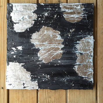 Silver Abstract Art, Black Wall Art, Black Abstract, Original Painting, Silver Leaf Painting, Modern Art, Contemporary Painting, Canvas