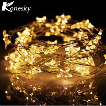 6m 40 LED  Star Copper Wire String Lights LED Fairy Lights Christmas Wedding decoration Lights Battery Operate twinkle