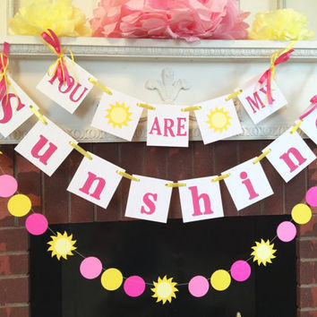 You Are My Sunshine Birthday Decorations, child's room decor- sunshine sign -You are my Sunshine Baby shower decorations CUSTOM COLORS